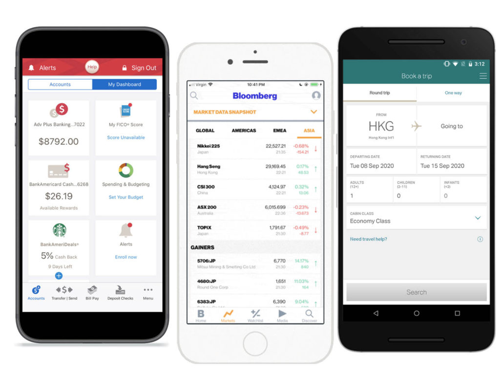 Screenshots of various mobile apps and their flat UI design