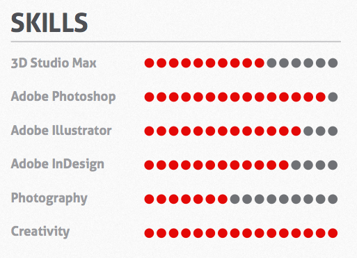 An example of the skills meter that designers put in their CV's